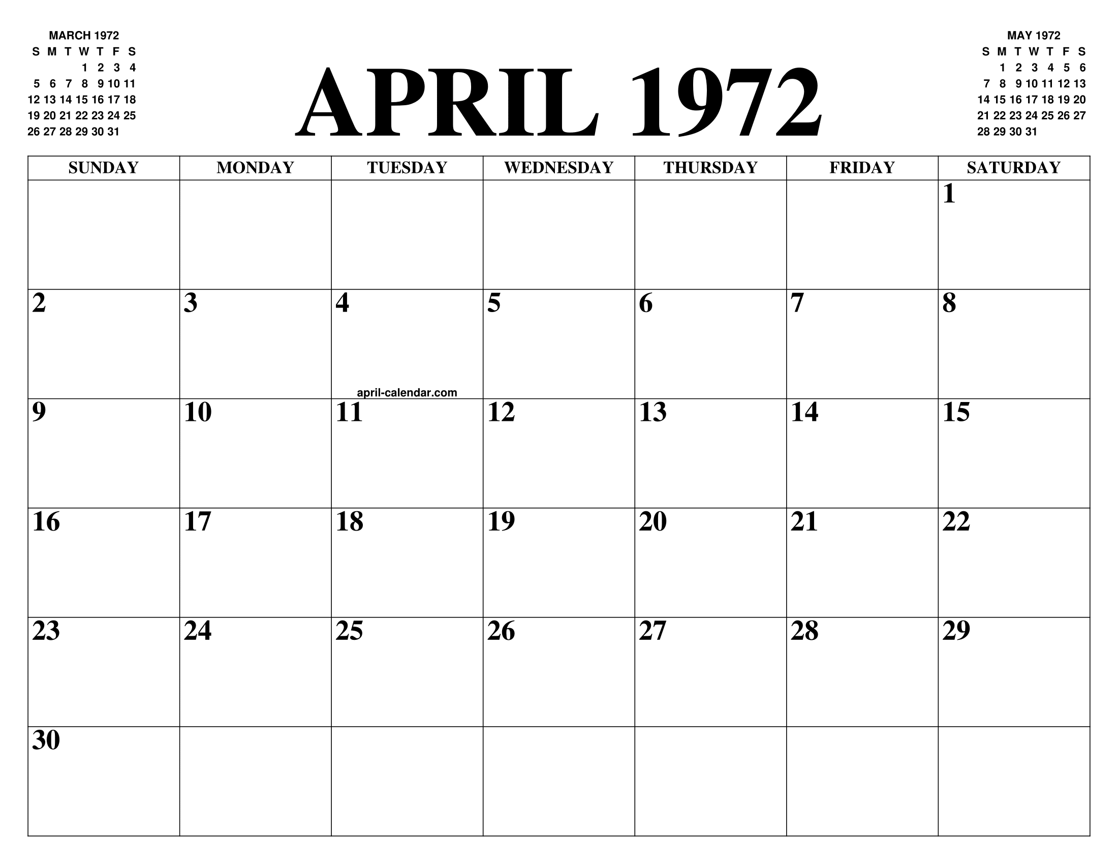 April 1972 Calendar Of The Month Free Printable April Calendar Of