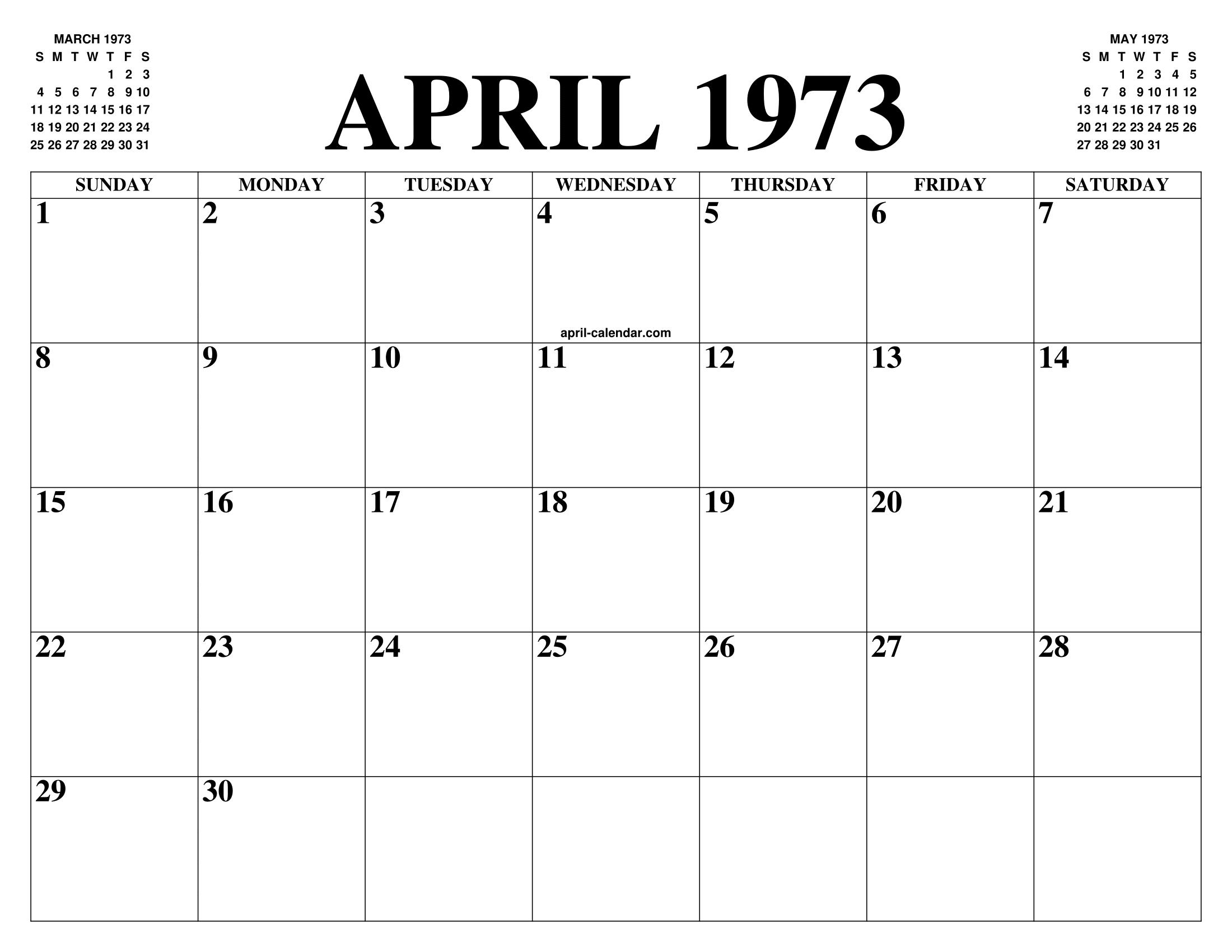 Calendario 1973.April 1973 Calendar Of The Month Free Printable April