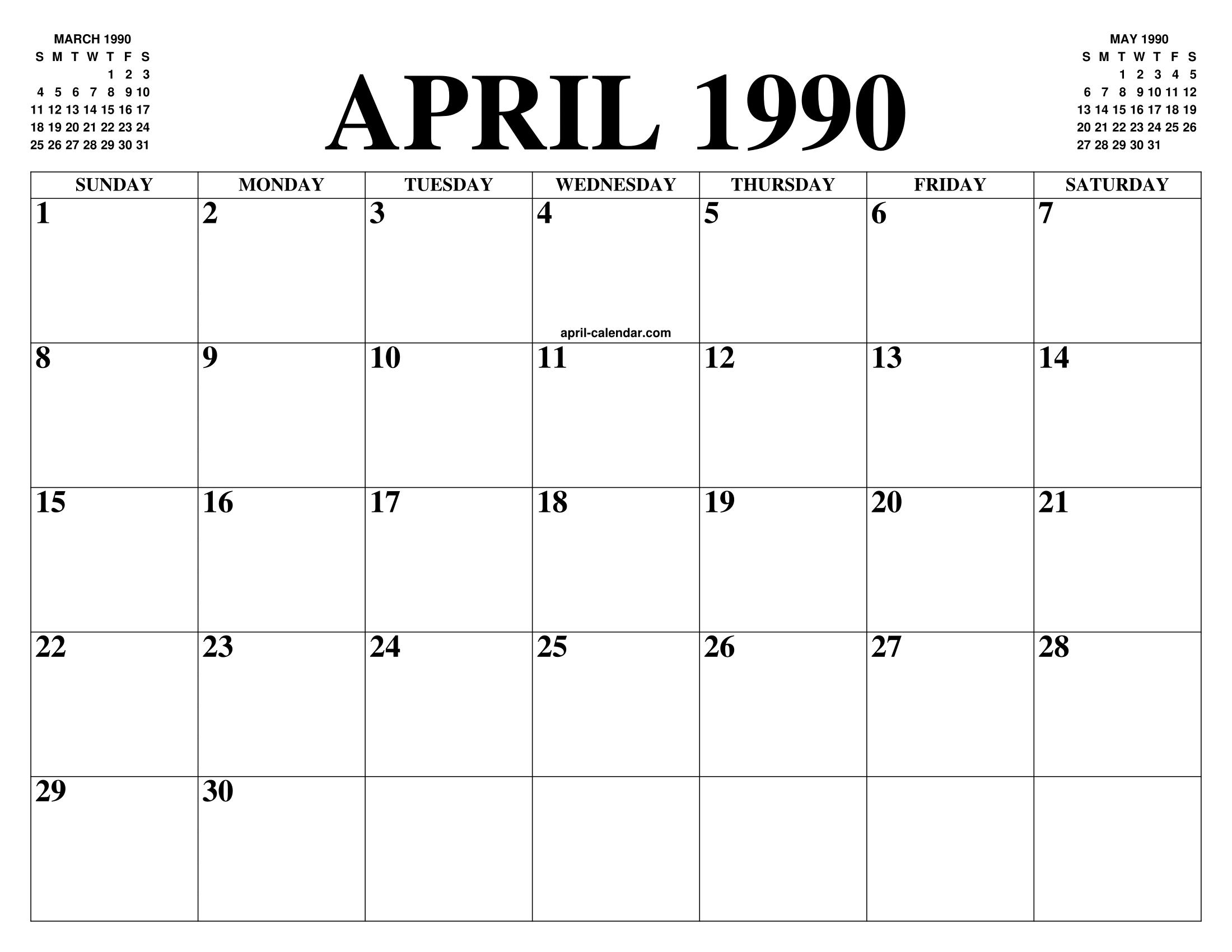 1990 Calendario.April 1990 Calendar Of The Month Free Printable April
