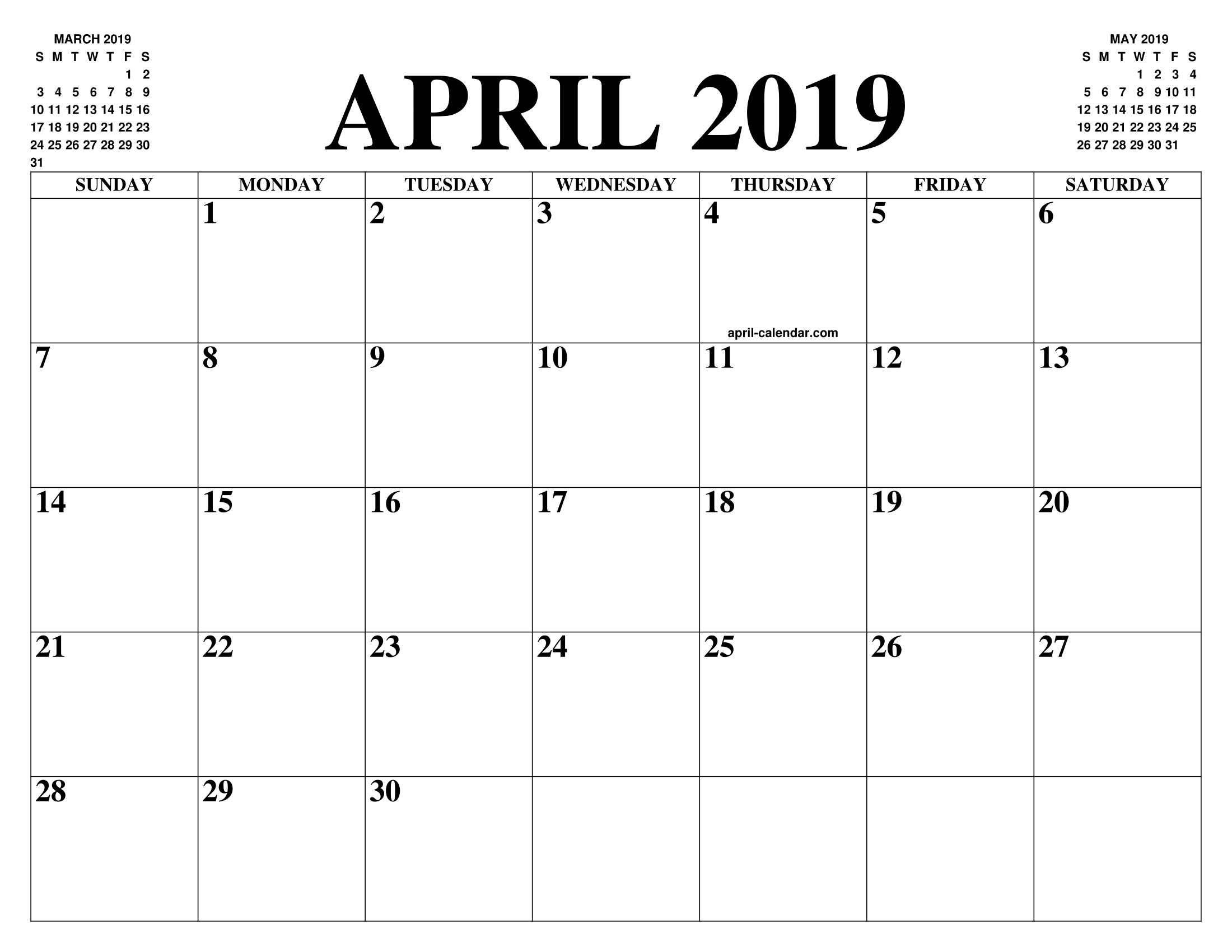Calendario 2019 English.April 2019 2020 Calendar Of The Month Free Printable