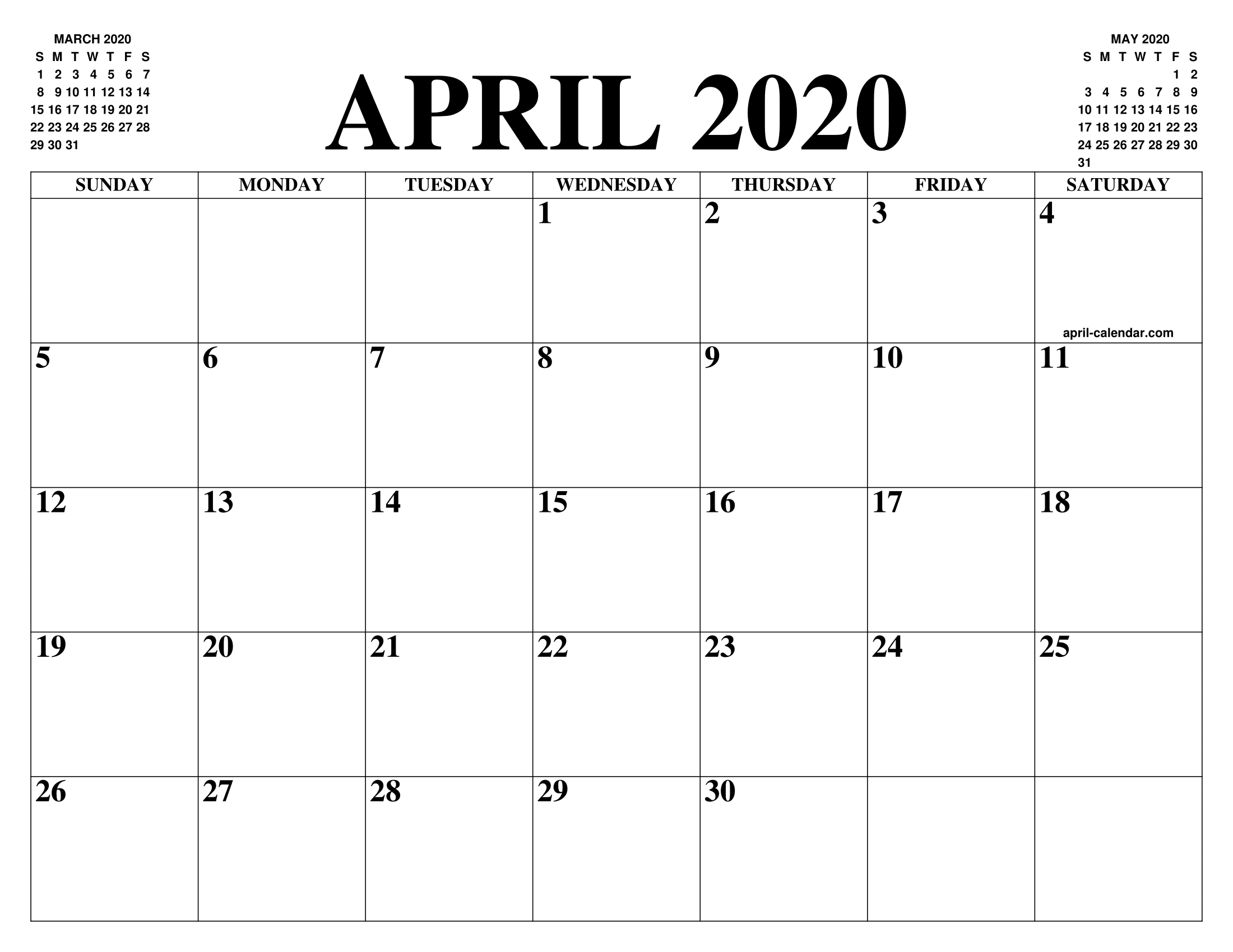 Calendrier Top 14 2020 2020.April 2020 Calendar Of The Month Free Printable April