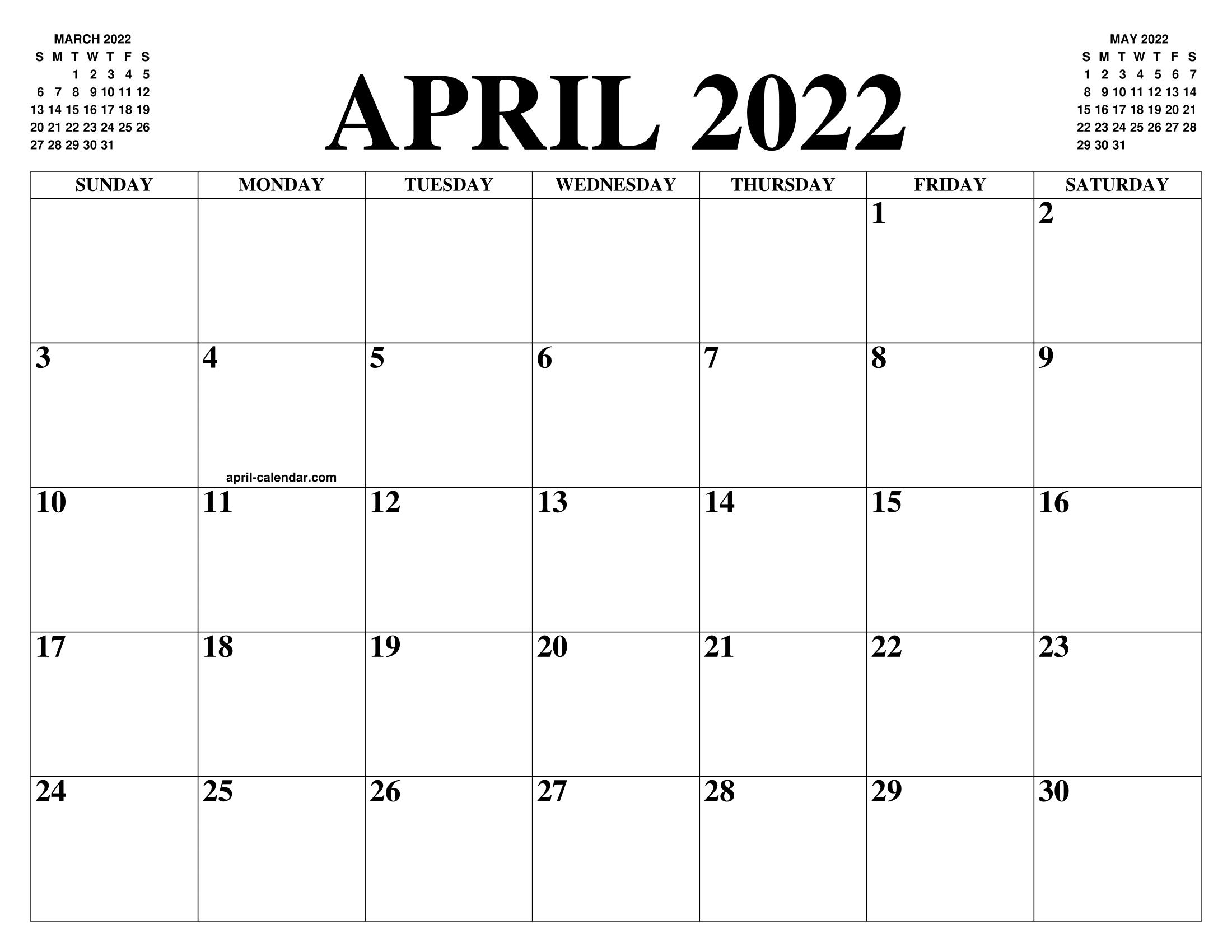 April 2022 Calendar Printable.April 2022 Calendar Of The Month Free Printable April Calendar Of The Year Agenda